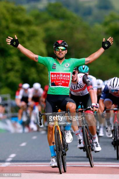 Sonny Colbrelli of Italy and Team Bahrain Victorious Green Points Jersey stage winner celebrates at arrival during the 73rd Critérium du Dauphiné...