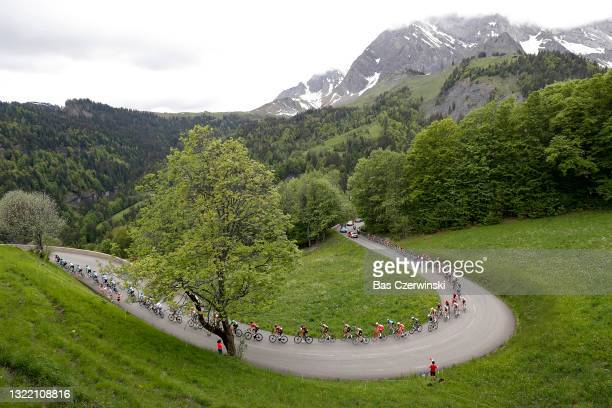 Sonny Colbrelli of Italy and Team Bahrain Victorious Green Points Jersey & The Peloton passing through Côte D'héry-Sur-Ugine during the 73rd...