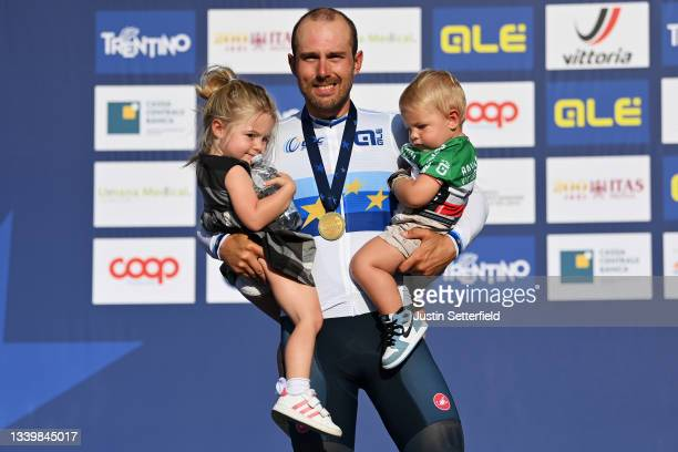 Sonny Colbrelli of Italy gold medalist celebrates the victory with his kids Vittoria and Tomaso on the podium ceremony after the 27th UEC Road...