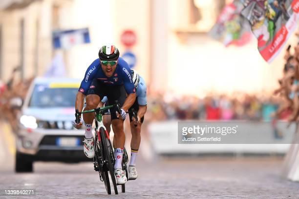 Sonny Colbrelli of Italy sprints to win ahead of Remco Evenepoel of Belgium during the 27th UEC Road Cycling European Championships 2021, Elite Men's...