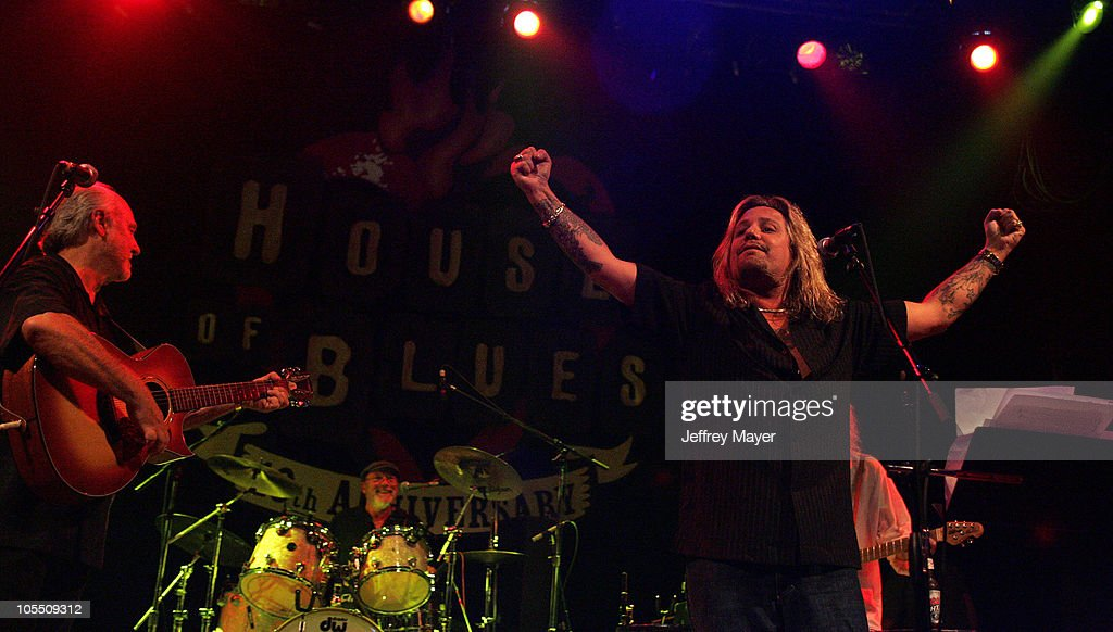 Sonny Curtis of The Crickets and Vince Neil during The Crickets and Friends in Concert at the House of Blues at House of Blues in West Hollywood, California, United States.