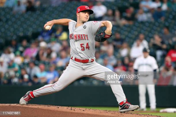 Sonny Gray of the Cincinnati Reds pitches against the Seattle Mariners in the first inning during their game at T-Mobile Park on September 11, 2019...