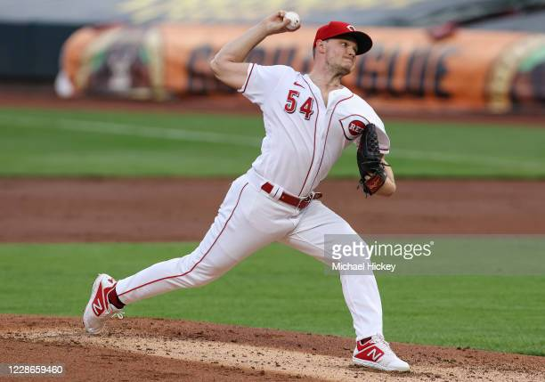 Sonny Gray of the Cincinnati Reds pitches during the game against the Milwaukee Brewers at Great American Ball Park on September 22, 2020 in...
