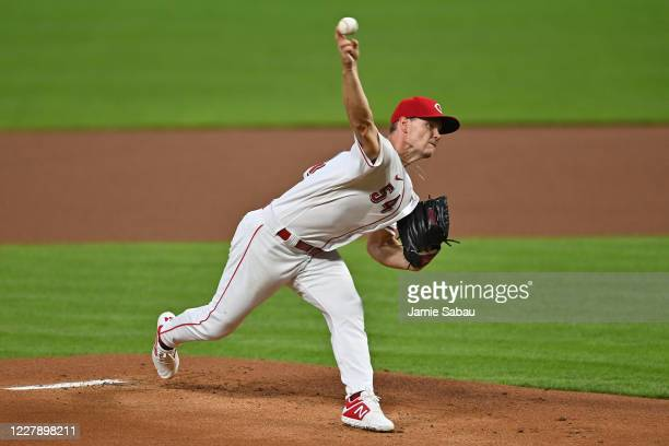 Sonny Gray of the Cincinnati Reds pitches in the first inning against the Cleveland Indians at Great American Ball Park on August 3, 2020 in...
