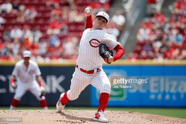 Sonny Gray of the Cincinnati Reds pitches in the second inning against the Washington Nationals at Great American Ball Park on June 2, 2019 in...