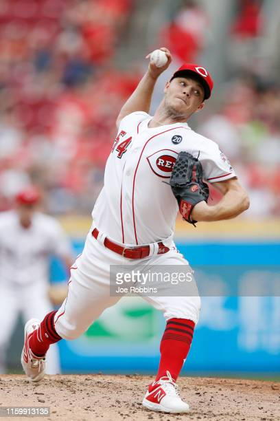 Sonny Gray of the Cincinnati Reds pitches in the second inning against the Milwaukee Brewers at Great American Ball Park on July 3, 2019 in...