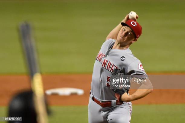 Sonny Gray of the Cincinnati Reds throws a pitch during the third inning against the Miami Marlins at Marlins Park on August 26, 2019 in Miami,...