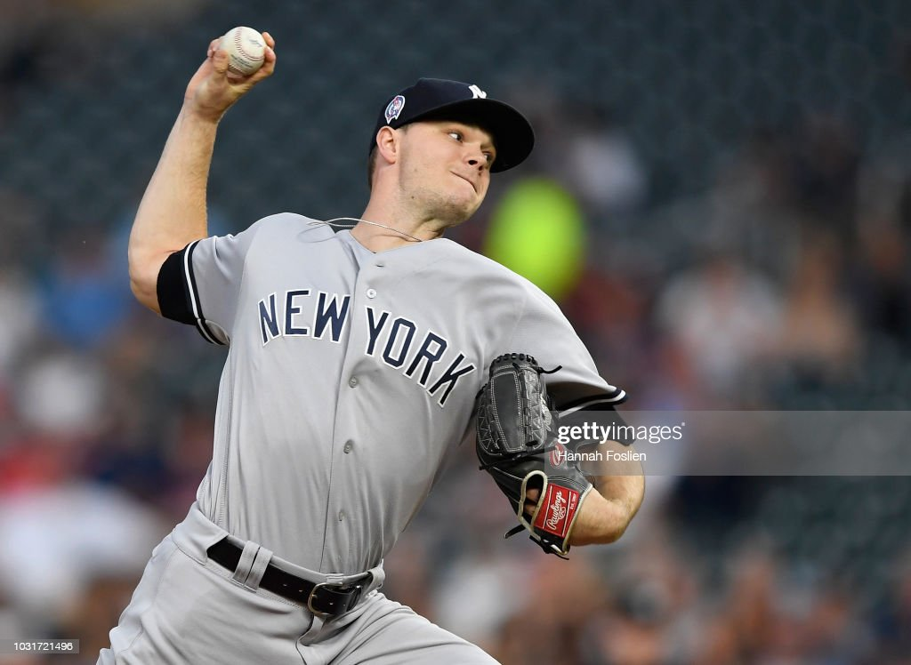 Sonny Gray #55 of the New York Yankees delivers a pitch against the Minnesota Twins during the first inning of the game on September 11, 2018 at Target Field in Minneapolis, Minnesota.