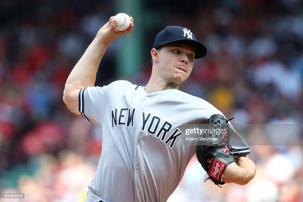 Sonny Gray #55 of the New York Yankees delivers in the first inning of a game against the Boston Red Sox at Fenway Park on August 20, 2017 in Boston, Massachusetts.
