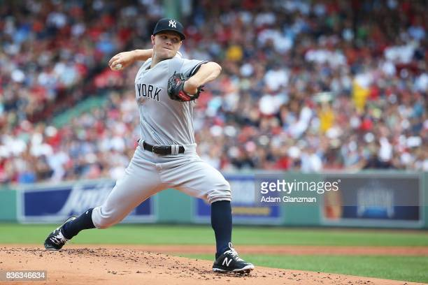 Sonny Gray of the New York Yankees delivers in the first inning of a game against the Boston Red Sox at Fenway Park on August 20 2017 in Boston...
