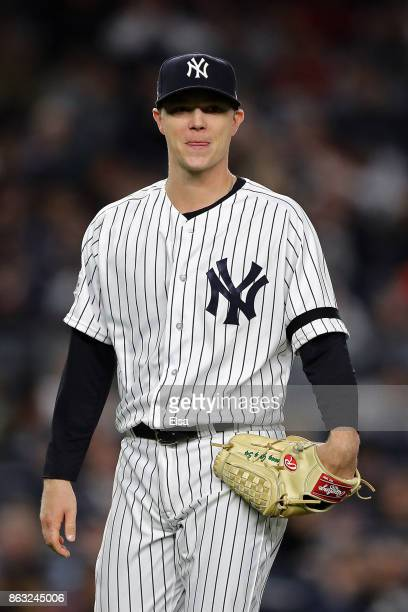 Sonny Gray of the New York Yankees gets pulled from the game in the sixth inning against the Houston Astros during Game Four of the American League...