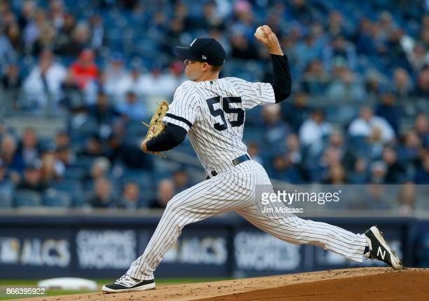 Sonny Gray of the New York Yankees in action against the Houston Astros in Game Four of the American League Championship Series at Yankee Stadium on...