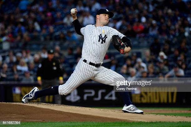 Sonny Gray of the New York Yankees pitches against the Boston Red Sox during the first inning at Yankee Stadium on September 1 2017 in New York City