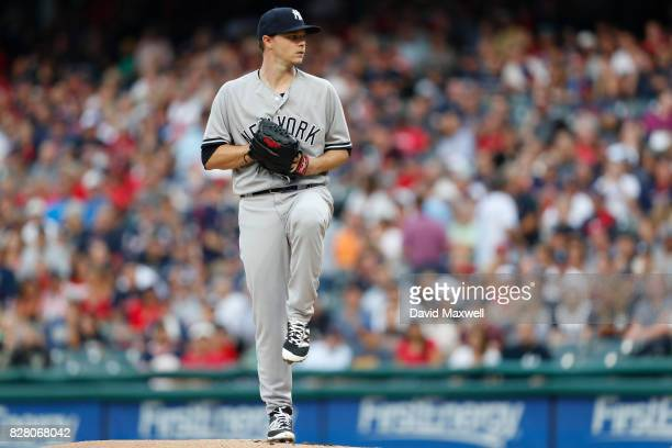 Sonny Gray of the New York Yankees pitches against the Cleveland Indians in the first inning at Progressive Field on August 3 2017 in Cleveland Ohio...