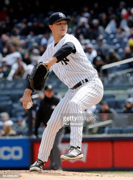 Sonny Gray of the New York Yankees pitches in an MLB baseball game against the Baltimore Orioles at Yankee Stadium on April 7 2018 in New York NY...