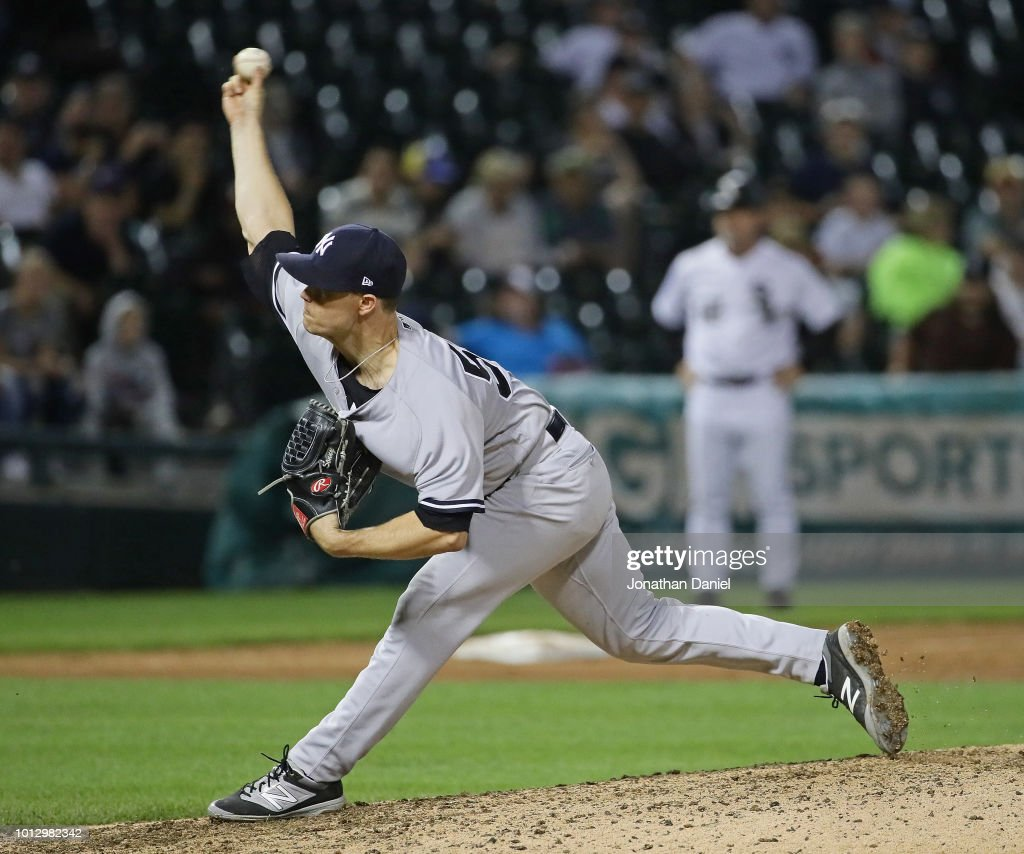 Sonny Gray #55 of the New York Yankees pitches in the 13th inning against the Chicago White Sox at Guaranteed Rate Field on August 7, 2018 in Chicago, Illinois. The Yankees defeated the White Sox 4-3 in 13 innings.