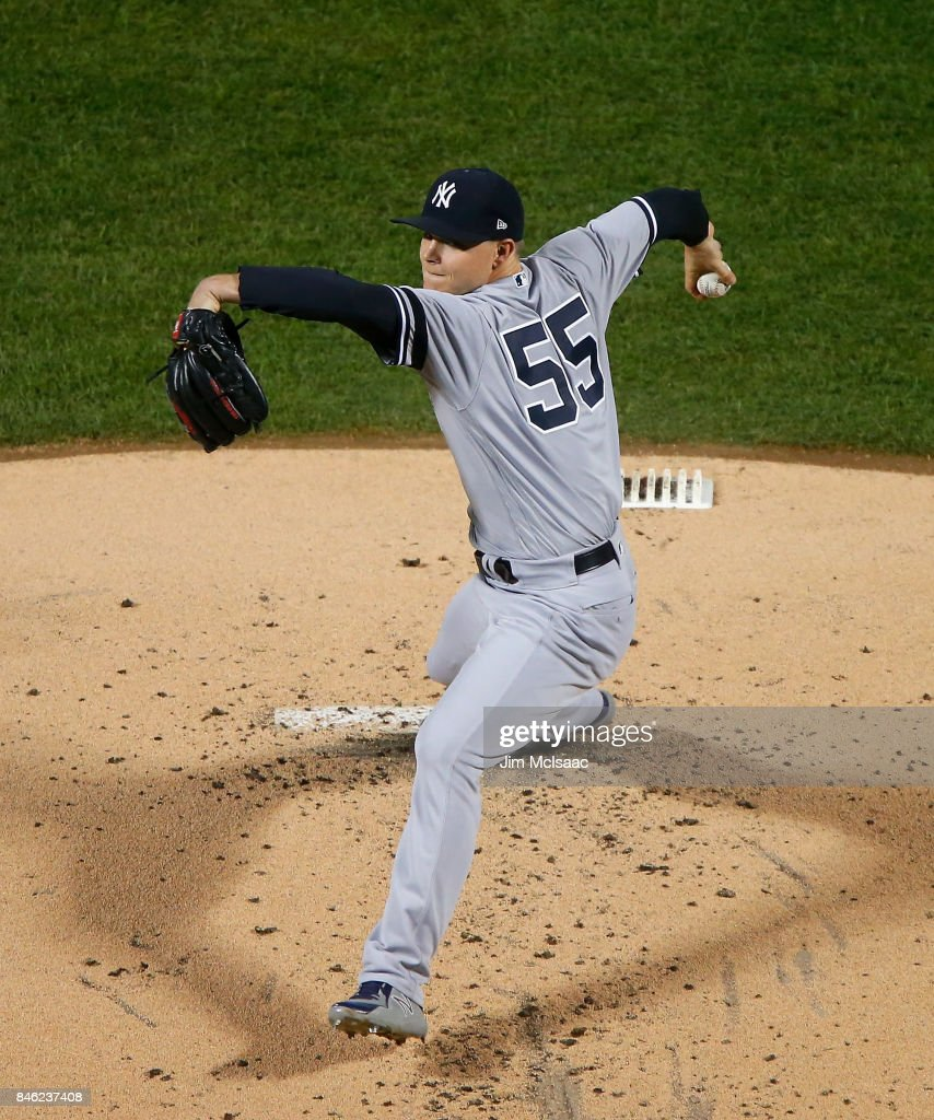 Sonny Gray #55 of the New York Yankees pitches in the first inning against the Tampa Bay Rays at Citi Field on September 12, 2017 in the Flushing neighborhood of the Queens borough of New York City. The two teams were scheduled to play in St. Petersburg, Florida but due to the weather emergency caused by Hurricane Irma, the game was moved to New York, but with Tampa Bay remaining the 'home' team.