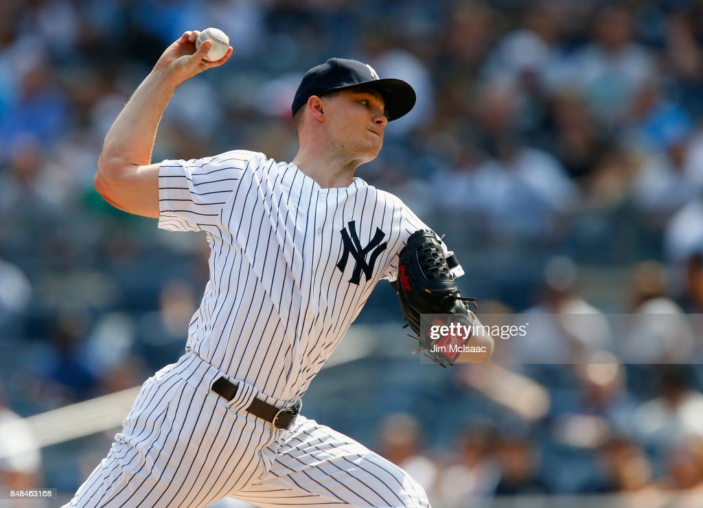 Sonny Gray #55 of the New York Yankees pitches in the first inning against the Baltimore Orioles at Yankee Stadium on September 17, 2017 in the Bronx borough of New York City.