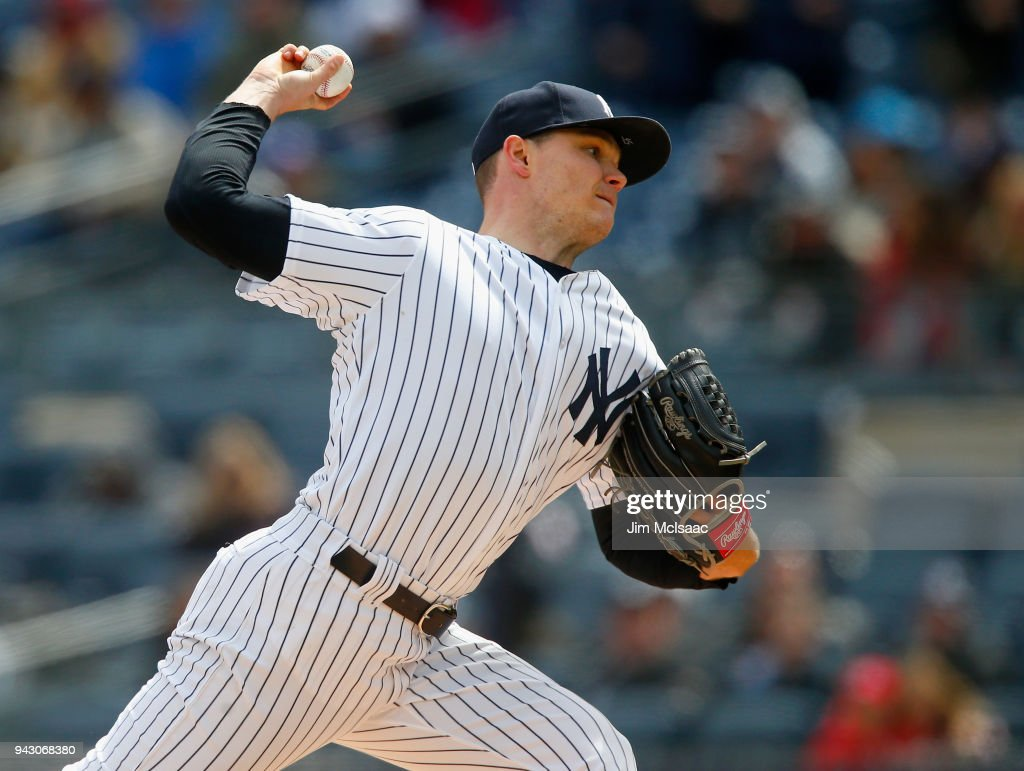 Sonny Gray #55 of the New York Yankees pitches in the first inning against the Baltimore Orioles at Yankee Stadium on April 7, 2018 in the Bronx borough of New York City.