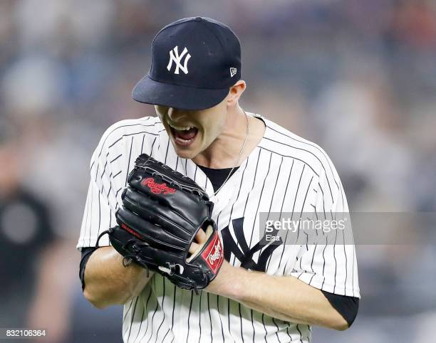 Sonny Gray of the New York Yankees reacts after the fourth inning against the New York Mets during interleague play on August 15 2017 at Yankee...