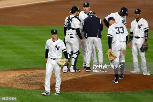 Sonny Gray of the New York Yankees walks off the mound as he exits the game during the sixth inning against the Houston Astros in Game Four of the...