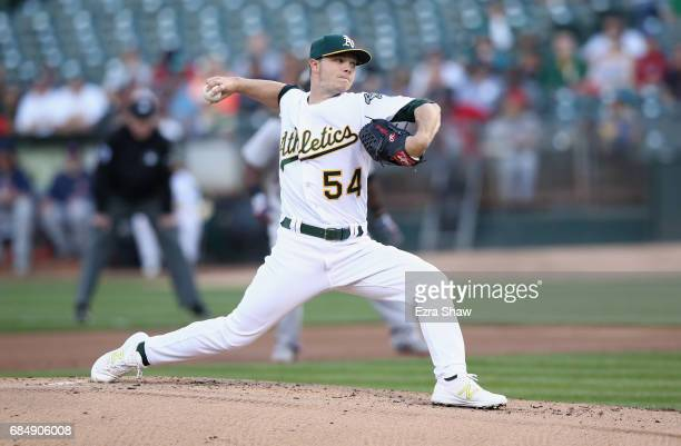 Sonny Gray of the Oakland Athletics pitches against the Boston Red Sox in the first inning at Oakland Alameda Coliseum on May 18 2017 in Oakland...