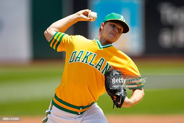 Sonny Gray of the Oakland Athletics pitches against the Chicago Cubs during the first inning at the Oakland Coliseum on August 6 2016 in Oakland...