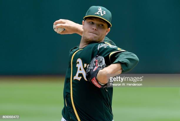 Sonny Gray of the Oakland Athletics pitches against the Chicago White Sox in the top of the first inning at Oakland Alameda Coliseum on July 5 2017...