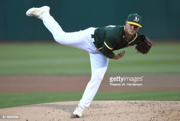 Sonny Gray of the Oakland Athletics pitches against the Cleveland Indians in the top of the first inning at Oakland Alameda Coliseum on July 14 2017...