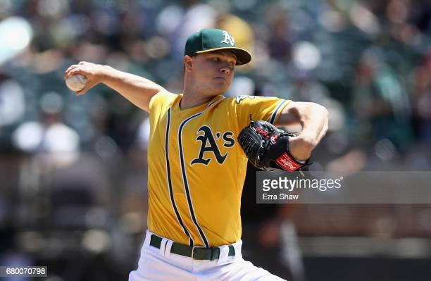 Sonny Gray of the Oakland Athletics pitches against the Detroit Tigers in the first inning at Oakland Alameda Coliseum on May 7 2017 in Oakland...