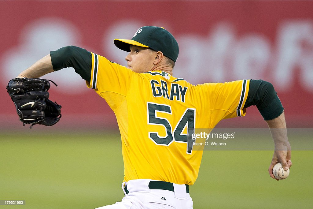 Sonny Gray #54 of the Oakland Athletics pitches against the Houston Astros during the first inning at O.co Coliseum on September 5, 2013 in Oakland, California.
