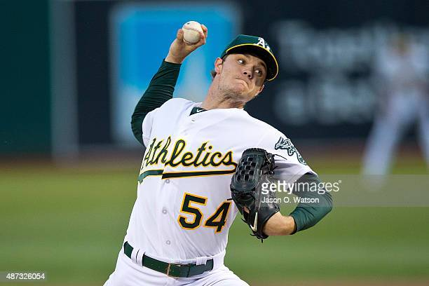 Sonny Gray of the Oakland Athletics pitches against the Houston Astros during the first inning at Oco Coliseum on September 8 2015 in Oakland...