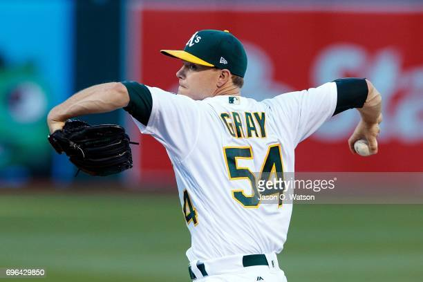 Sonny Gray of the Oakland Athletics pitches against the New York Yankees during the first inning at the Oakland Coliseum on June 15 2017 in Oakland...