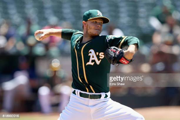 Sonny Gray of the Oakland Athletics pitches against the Tampa Bay Rays in the first inning at Oakland Alameda Coliseum on July 19 2017 in Oakland...