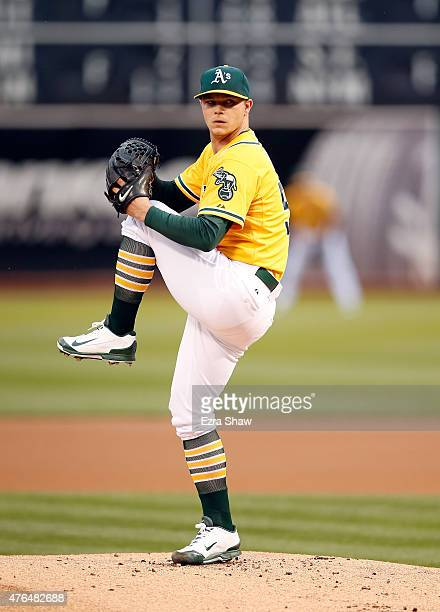 Sonny Gray of the Oakland Athletics pitches against the Texas Rangers in the first inning at Oco Coliseum on June 9 2015 in Oakland California