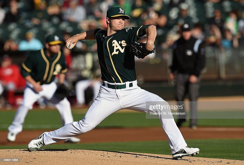 Sonny Gray #54 of the Oakland Athletics pitches against the Washington Nationals in the top of the first inning at O.co Coliseum on May 10, 2014 in Oakland, California.