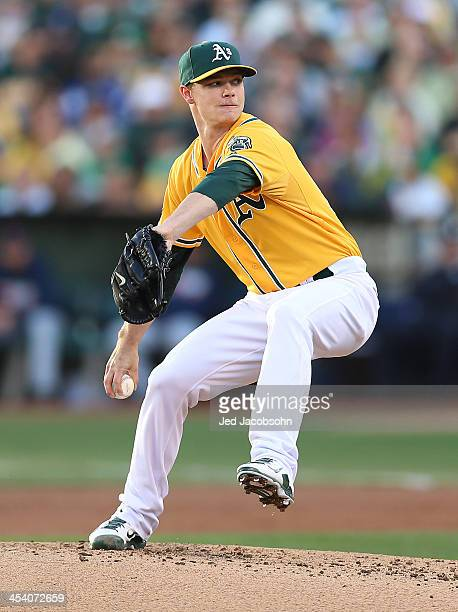 Sonny Gray of the Oakland Athletics pitches during Game Five of the American League Division Series against the Detroit Tigers on Thursday October 10...