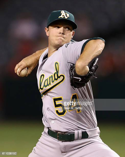 Sonny Gray of the Oakland Athletics pitches during the first inning of a game against the Los Angeles Angels of Anaheim at Angel Stadium of Anaheim...