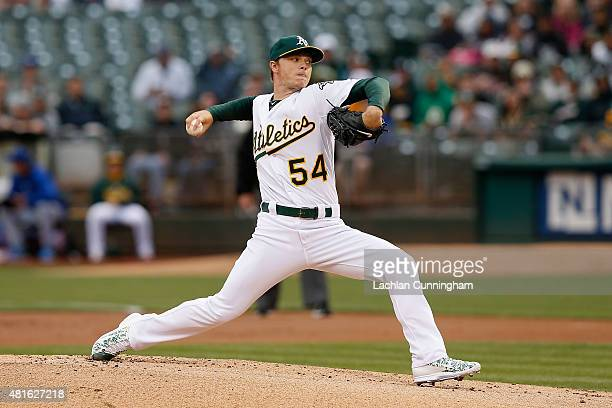 Sonny Gray of the Oakland Athletics pitches in the first inning against the Toronto Blue Jays at Oco Coliseum on July 22 2015 in Oakland California