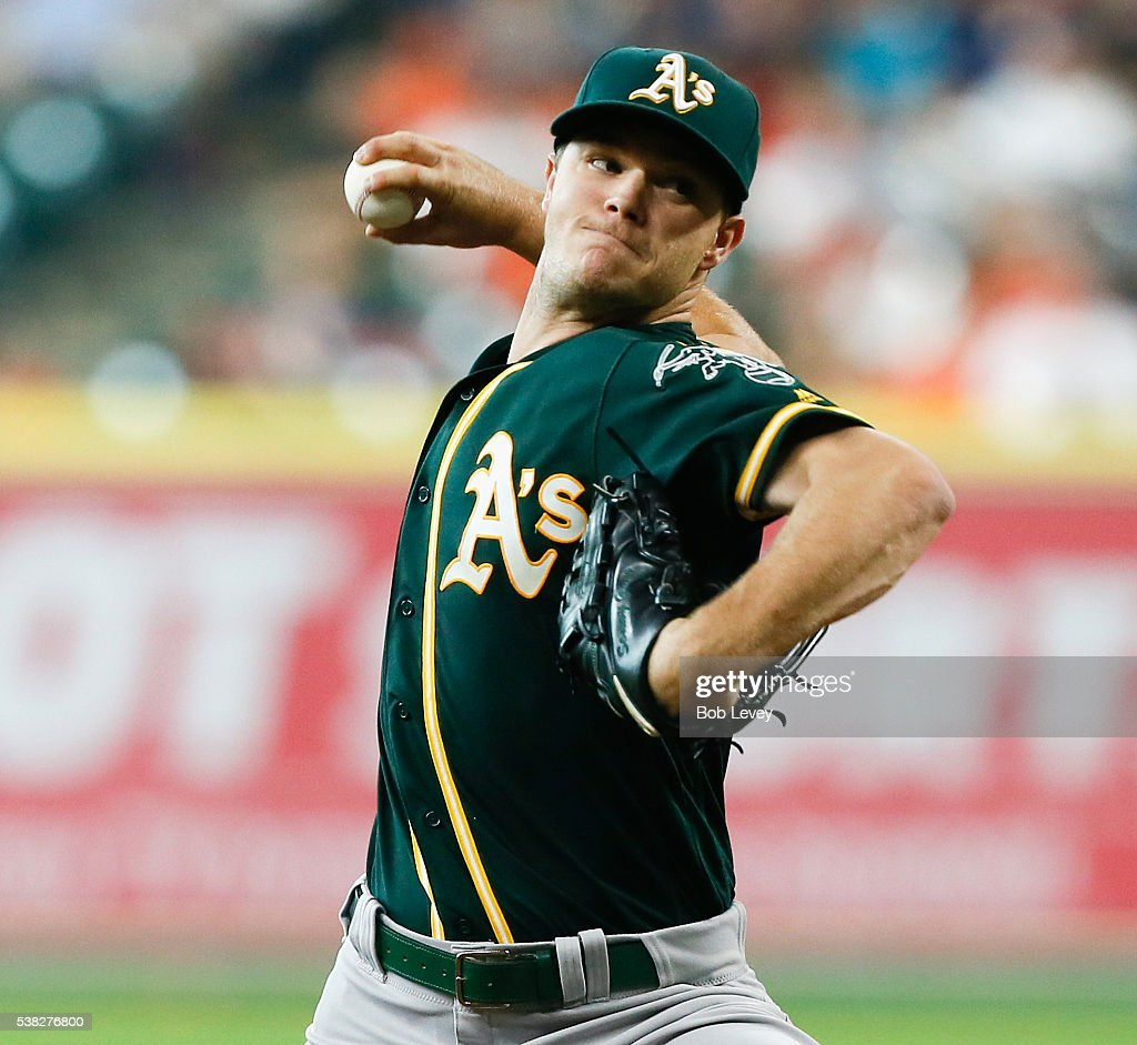 Sonny Gray #54 of the Oakland Athletics pitches in the first inning against the Houston Astros at Minute Maid Park on June 5, 2016 in Houston, Texas.