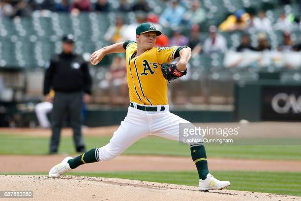 Sonny Gray of the Oakland Athletics pitches in the first inning against the Miami Marlins at Oakland Alameda Coliseum on May 24 2017 in Oakland...