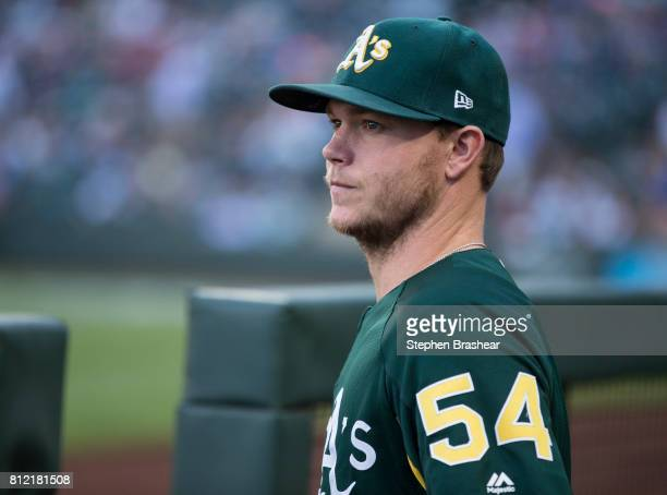 Sonny Gray of the Oakland Athletics stands in the dugout before a game against the Seattle Mariners at Safeco Field on July 6 2017 in Seattle...