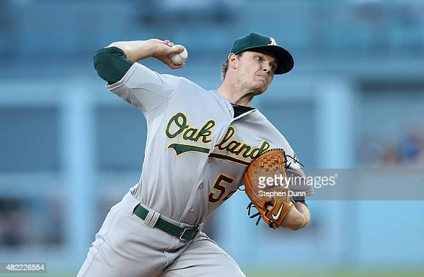 Sonny Gray of the Oakland Athletics throws a pitch against the Los Angeles Dodgers at Dodger Stadium on July 28 2015 in Los Angeles California