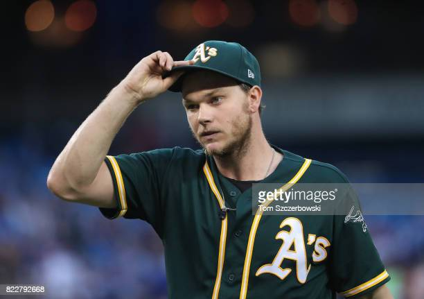Sonny Gray of the Oakland Athletics walks to his dugout after retiring the side in the third inning during MLB game action against the Toronto Blue...