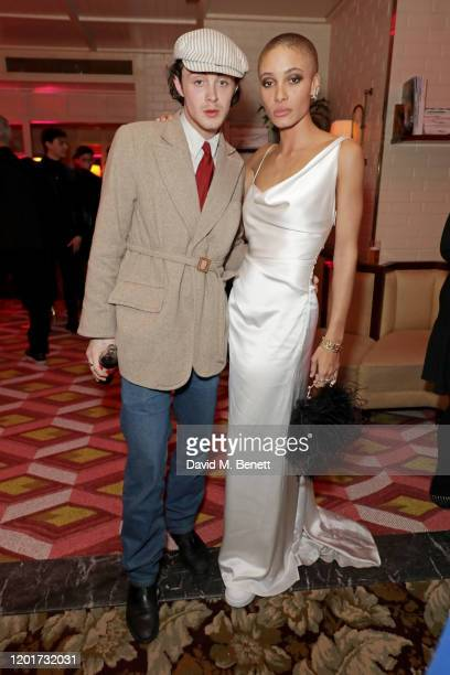 Sonny Hall and Adwoa Aboah attend the Warner Music CIROC BRIT Awards house party in association with GQ at The Chiltern Firehouse on February 18 2020...