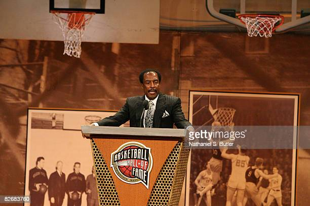 Sonny Hill Mannie Jackson Humanitarian Award winner speaks during the 2008 Hall of Fame Enshrinement Ceremony on September 5 2008 at the Basketball...
