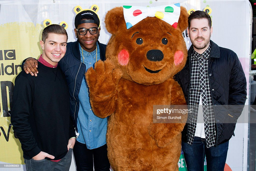 Sonny Jay, Te Qhario Eugene, Pudsey and Eddie Brett attend the BBC Children In Need Pudsey Street event at Covent Garden on November 3, 2012 in London, England.