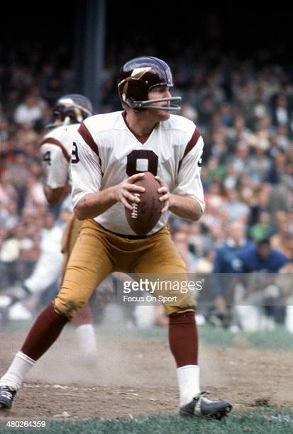 Sonny Jurgensen of the Washington Redskins drops back to pass against the New York Giants during an NFL football game September 29 1968 at Yankee...