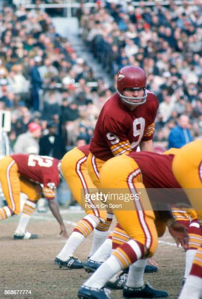 Sonny Jurgensen of the Washington Redskins in action during an NFL football game circa 1969 at RFK stadium in Washington DC Jurgensen played for the...