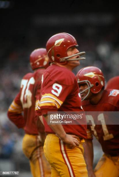 Sonny Jurgensen of the Washington Redskins looks on during an NFL football game circa 1969 at RFK stadium in Washington DC Jurgensen played for the...